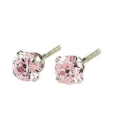 Elegant Baby Sterling & Pink Cubic Zirconium Earrings