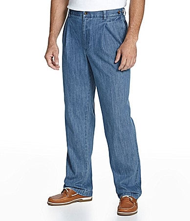 Roundtree & Yorke Pleated Side-Elastic Denim Pants