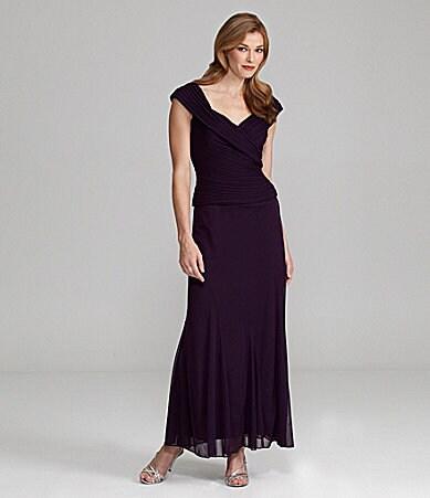 c943c55460a Alex Evenings Ruched V-Neck Long Dress