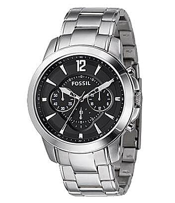 Fossil 'Grant' Black-Dial Chronograph Dress Watch