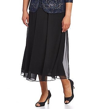 Alex Evenings Plus Chiffon Panel Skirt