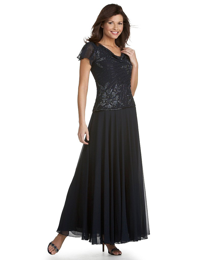 jkara floral beaded chiffon gown dillards