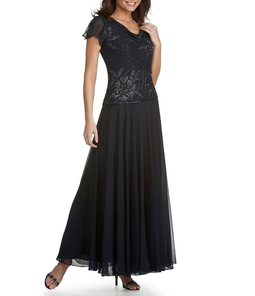 Jkara Floral-Beaded Chiffon Gown