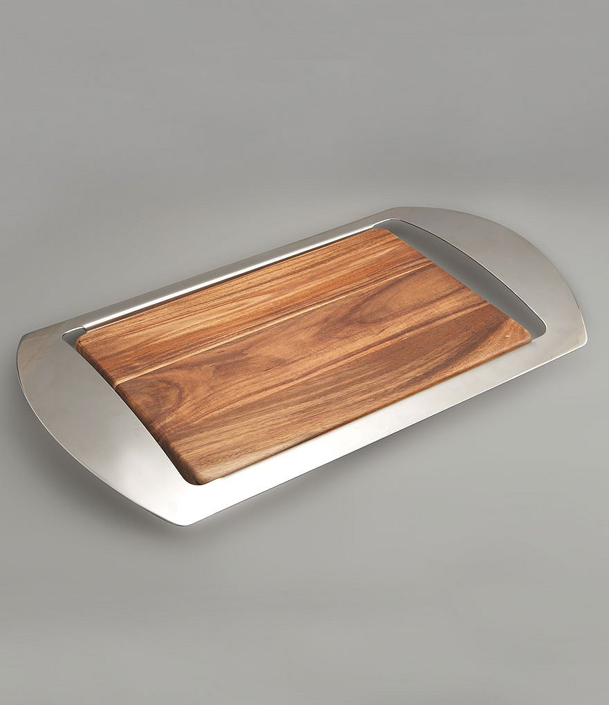 Nambe Micco Acacia Wood & Stainless Steel Bar Tray