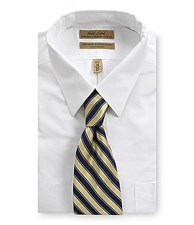 Roundtree & Yorke Gold Label Big & Tall French-Cuff Point-Collar Dress Shirt