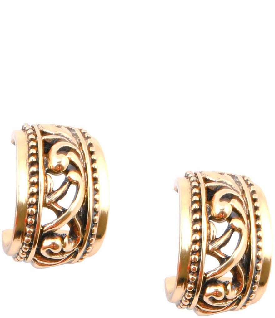 Barse Bronze Scroll Hoop Earrings