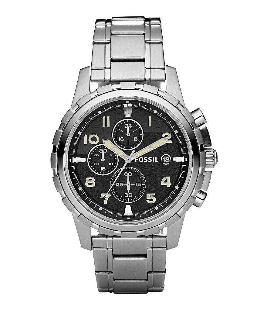 Fossil Dean Black-Dial Chronograph Dress Watch