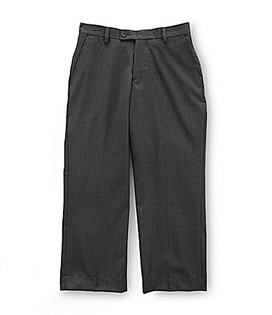 Class Club Gold Label 8-20 Charcoal Flat-Front Dress Pants