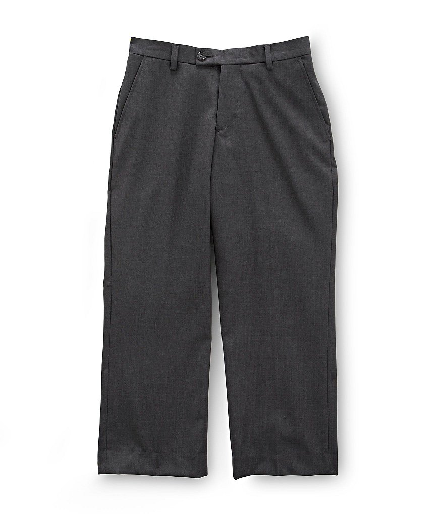 Class Club Gold Label Big Boys 8-20 Charcoal Flat-Front Dress Pants