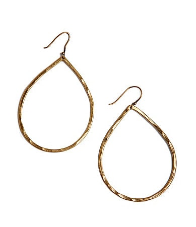 Lucky Brand Goldtone Hammered Teardrop Earrings