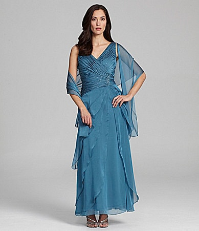 Ignite Evenings Woman Ruched Asymmetric-Tiered Gown