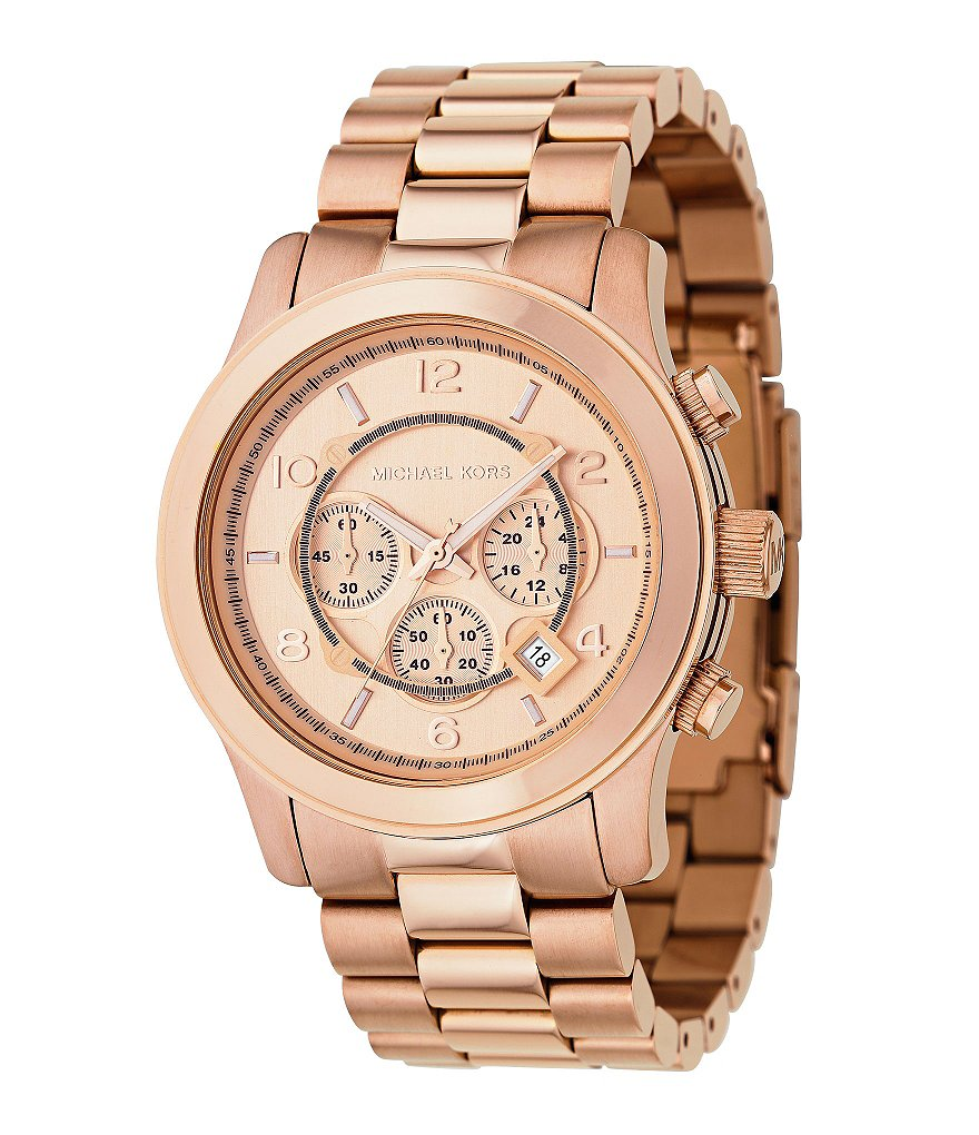 Michael Kors Runway Rose-Gold-Dial Chronograph Watch
