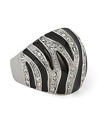 Tivoli Zebra-Pattern Cocktail Ring