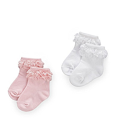 Starting Out Newborn Triple-Lace-Trim Anklets 2-Pack