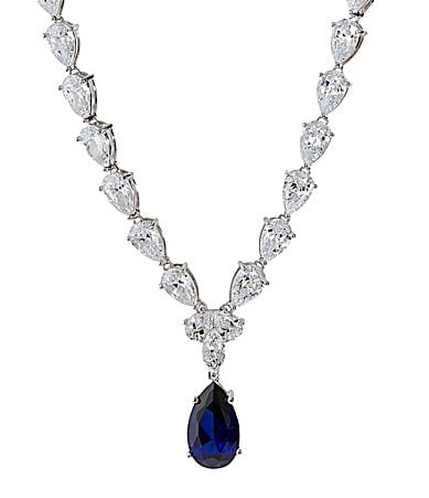 Crislu Platinum Sapphire Collection Pear Drop Necklace