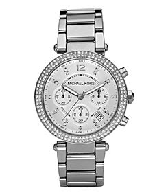 Michael Kors Parker Silver-Dial Chronograph Watch