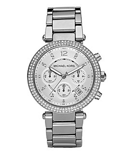 Michael Kors Parker Silver-Dial Chronograph Watch Image