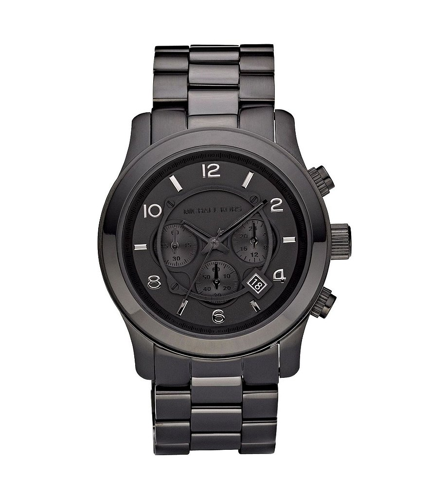 Michael Kors Runway Black Stainless Steel 3 Hand Chronograph Sports Watch
