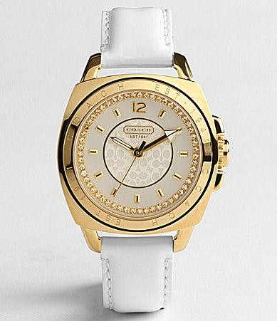 COACH BOYFRIEND CRYSTAL WHITE STRAP WATCH