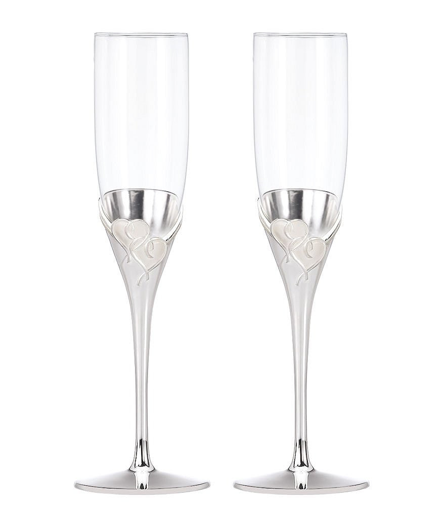 Lenox True Love Heart Crystal Flute Pair