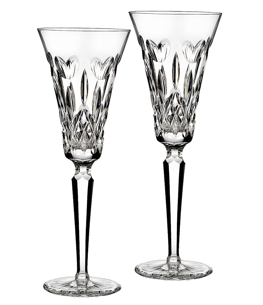 Waterford Crystal I Love Lismore Toasting Flute Pair