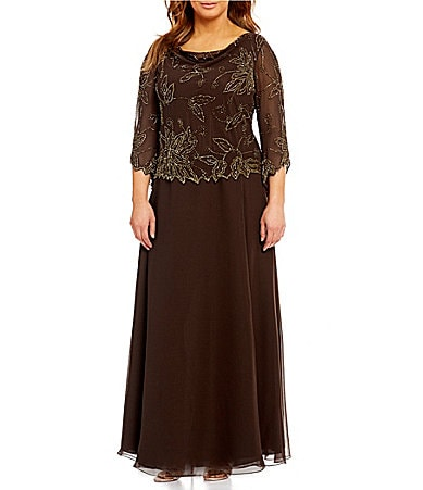 Jkara Woman Floral-Beaded Chiffon Gown