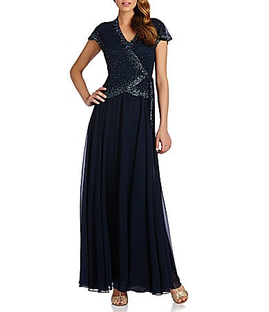 Jkara Beaded Chiffon Gown