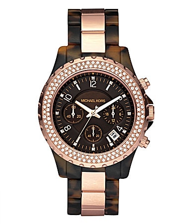 Michael Kors Madison Faux-Tortoise Chronograph Watch