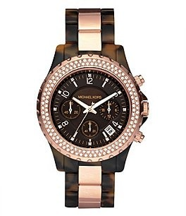 Michael Kors Rose Goldtone/Faux-Tortoise Chronograph Watch