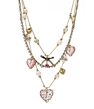 Betsey Johnson Crystal Heart Illusion Necklace