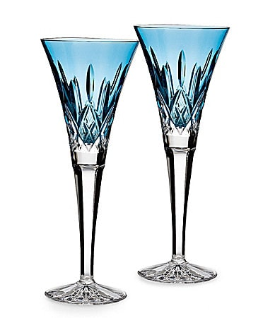 Waterford Lismore Jewels Aquamarine Flute Pair