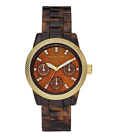 Michael Kors Ritz Chocolate-Dial Faux-Tortoise Watch