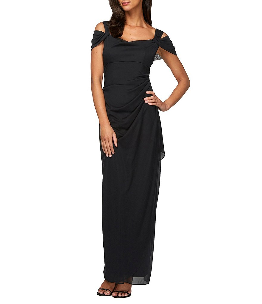 Alex Evenings Petite Exposed-Shoulder Mesh Gown