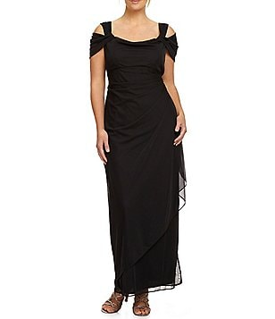 Alex Evenings Plus Exposed-Shoulder Gown