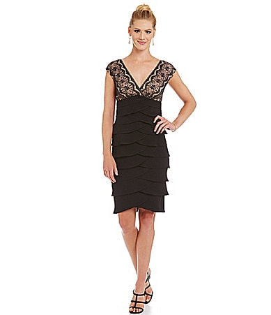 Jessica Howard Lace-Bodice Tiered Dress