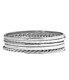 Dillard�s Boxed Collection Silvertone Textured Bangle Bracelet Set