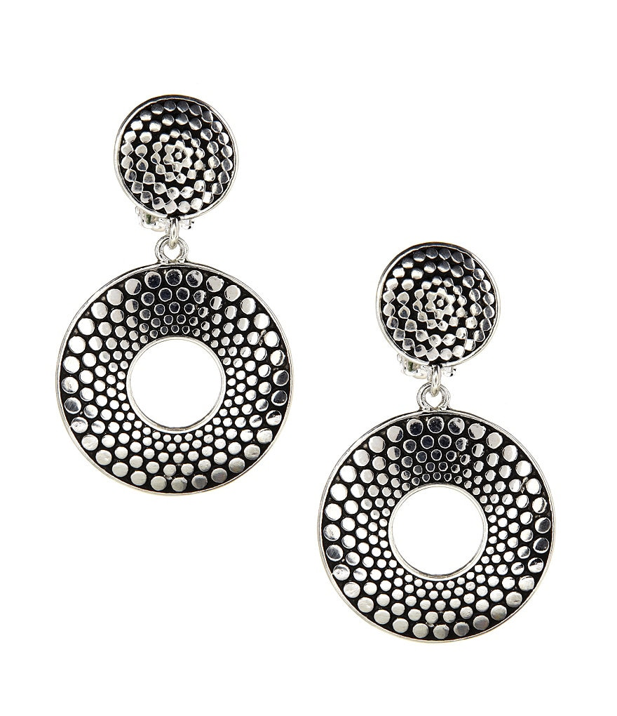 Dillard's Tailored Textured-Dots Clip-On Earrings