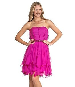 Donna Morgan Strapless Chiffon Dress