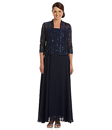S.L. Fashions Evenings Beaded Lace Jacket Dress
