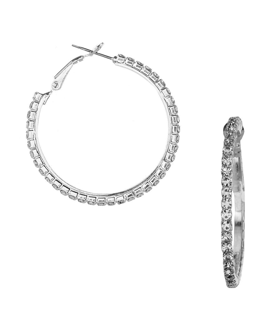 Cezanne Medium Crystal Rhinestone Hoop Earrings