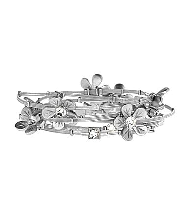 Anna & Ava Crystal Flower Wire Bangle Set