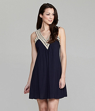 THML Embroidered-Neck Dress