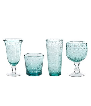 Summer Oasis Blue Bubble-Glass Drinkware Collection