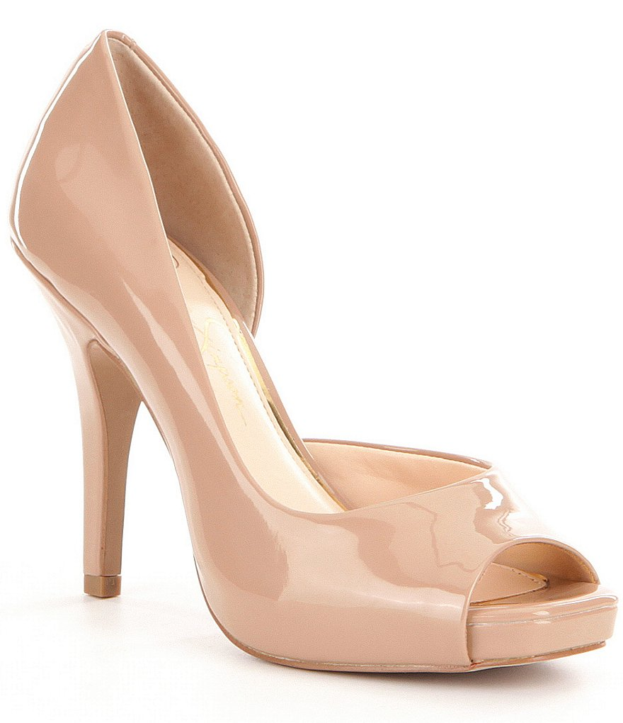 Jessica Simpson Josette Patent Leather Peep-Toe d´Orsay Pumps