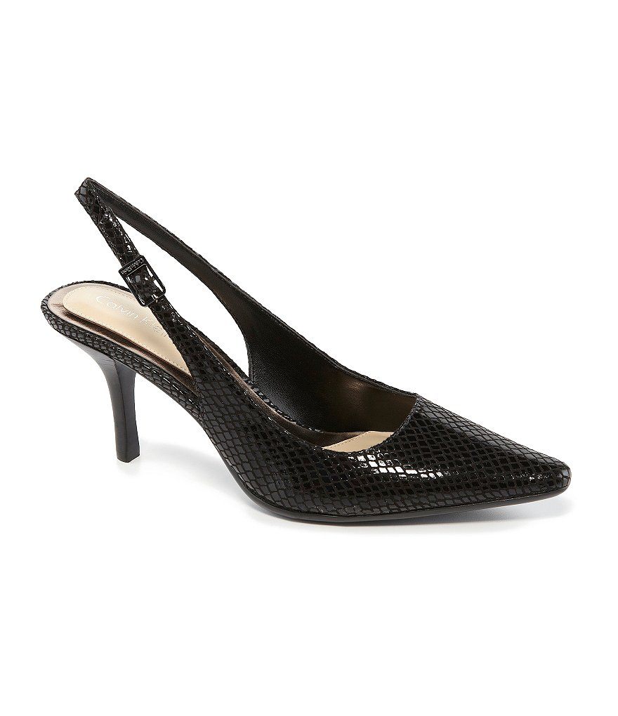 Calvin Klein Day Snake Pointed-Toe Slingback Pumps