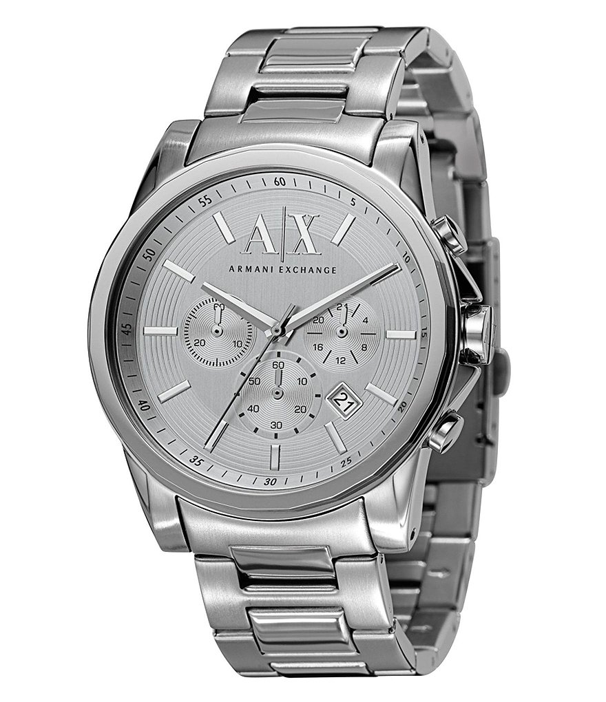 AX Armani Exchange Silvertone Stainless Steel 3 Hand Chronograph Watch