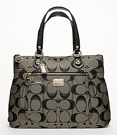 COACH POPPY METALLIC SIGNATURE GLAM TOTE