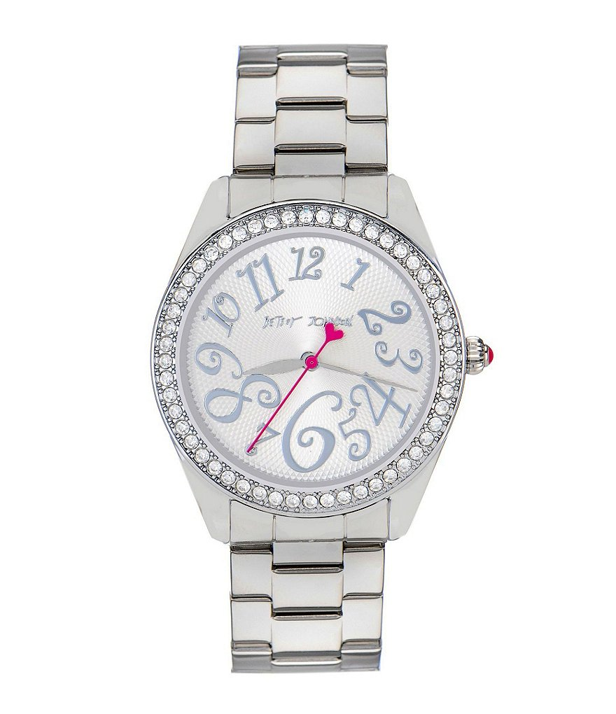 Betsey Johnson Bling Bling Time Stainless Steel Crystal Bezel 3 Hand Boyfriend Bracelet Watch