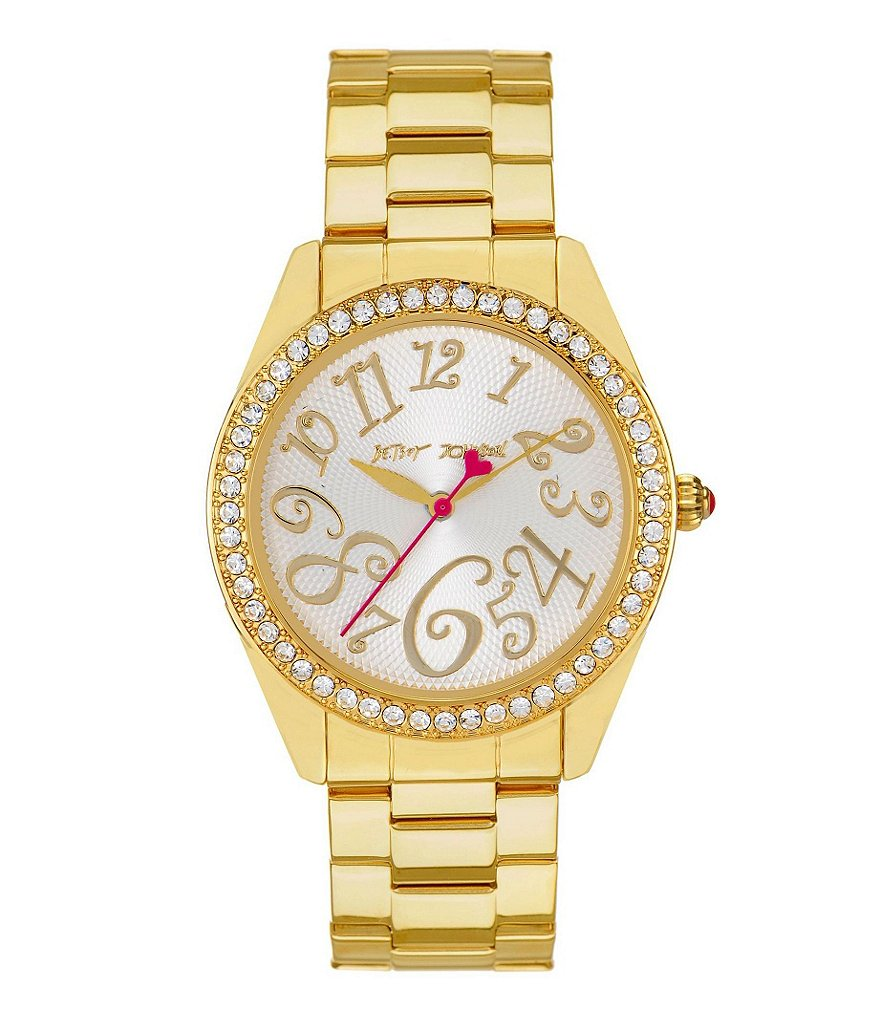 Betsey Johnson Bling Bling Time Stainless Steel Bracelet 3 Hand Boyfriend Watch