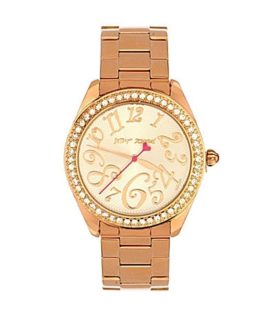 Betsey Johnson Rose Gold 'Bling Bling Time' Boyfriend Watch